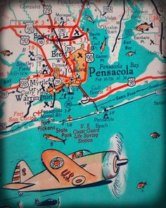 Florida Panhandle Pensacola beach retro map print funky vintage turquoise photo Warrington US Coast Guard Vintage Florida, Old Florida, Pensacola Florida, Florida Beaches, Tattoo Fleur, Orange Beach Alabama, Fort Walton Beach, Us Coast Guard, Vintage Turquoise