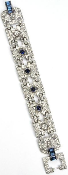 KTF Trifari 'Alfred Philippe' Pave and Diamante Baguettes, and Sapphire Baguettes and Cabochons, Deco Link Bracelet