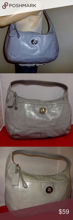 Coach XLarge ERGO Patent Leather Turnlock Hobo WOW! Largest size made in this style, for the gal who likes to carry everything! You'll love the outside turn lock pocket for your phone and last minute adds, inside lining is Tattersall plaid signature, with the requisite zip and slip pockets. No stains or damage. Bag looks great, with just a few minor marks. Leather creed w/serial no. H1093-Z16255 Coach Bags Hobos