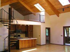 Best Modern Log Home Interior Spiral Staircase To Loft 400 x 300