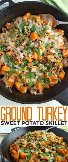Recipes Ground Turkey This Ground Turkey Sweet Potato Skillet recipe is a healthy gluten free meal that is full of flavor and hearty enough to feed your family quickly on busy weeknights! Healthy Gluten Free Recipes, Diet Recipes, Healthy Snacks, Healthy Eating, Recipes Dinner, Healthy Turkey Recipes, Chicken Recipes, Beans Recipes, Healthy Drinks