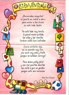 Maestra Asunción: MENSAJES DE BIENVENIDA AL NUEVO AÑO ESCOLAR. First Day School, Beginning Of School, Back To School, Spanish Songs, School Decorations, Head Start, Reading Skills, Happy Kids, Classroom Decor