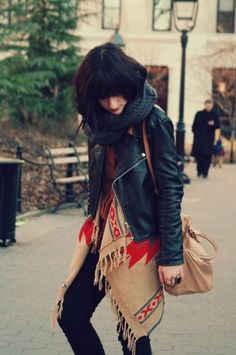 Love a layered look :: little black jacket over loose boho/aztec sweater Looks Street Style, Looks Style, Style Me, Look Fashion, Fashion Models, Womens Fashion, Fall Fashion, Net Fashion, Fashion Shoes
