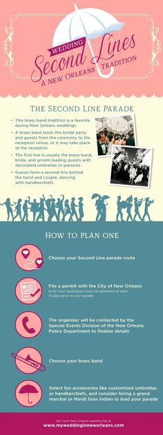Planning a destination wedding in New Orleans? It wouldn't be a real New Orleans wedding unless you have a secondline parade. Not sure how to plan one? Let us give you the deets.