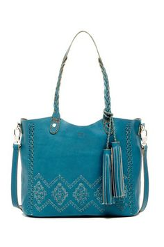 """Artisanal Braid TOTE by Isabella Fiore in Blue - - Dual top braided handles with single detachable, adjustable shoulder strap - Lobster clasp closure - Exterior features woven leather detail & removable fringe tassel accent - Interior features zip wall pocket - Dust bag included - Approx. 10.75"""" H x 13"""" W x 5.5"""" D - Approx. 10"""" handle drop, 12-21"""" strap drop - Imported - Materials: Leather"""