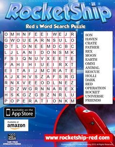 RocketShip Activity 4 Red's Word Search Puzzle free for kids