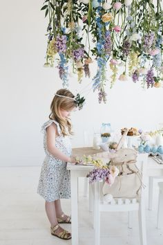 Easter is just around the corner and I couldn't be more excited for spring  flowers to start blooming.  Recently I collaborated with the darling Sweet  Little Peanut Magazine  and Pottery Barn Kids to create hanging floral  installation for an Easter Brunch party and today I'm excited to share with  you images by Becky Kimball from our shoot filled darling  Easter inspiration and ideas!    For this Easter Brunch party Sweet Little Peanut Magazine  really wanted to  bring fresh flower element...