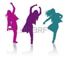 silhouette danse: Détaillées silhouettes vecteur de filles qui dansent la danse hip-hop