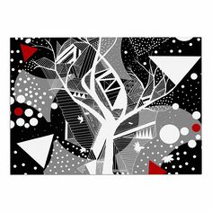 KESS InHouse Marianna Tankelevich 'Geometric Play' Black Red Dog Place Mat, 13' x 18' * Awesome product. Click the image