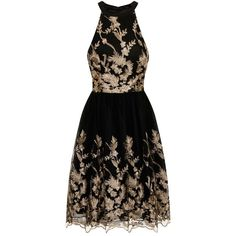 Chi Chi London embroidered dress ($110) ❤ liked on Polyvore featuring dresses, black, women, going out dresses, party dresses, cocktail prom dress, black sleeveless cocktail dress and sleeveless prom dress