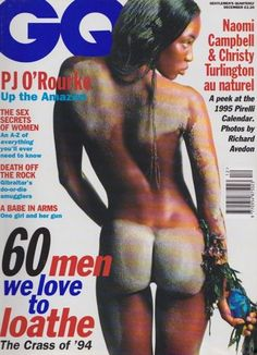 "Naomi Campbell's first British [i]GQ[/i] cover, aged 24, was selected from a series of photographs by Richard Avedon for the 1995 [link url=""http://www.gq-magazine.co.uk/gallery/pirelli-calendar-2018""]Pirelli calendar[/link]. Inside the magazine she appeared alongside fellow supermodels Christy Turlington, Farrah Summerford and Nadj Auermann in an ""au naturel"" photo shoot representing the four seasons of the year.  [youtube id=""zwVa_fJC1LQ""]"