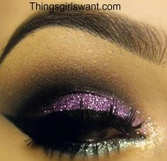 Gorgeous Purple and Silver Glitter Eye Makeup!