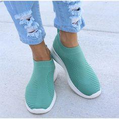 Mila - Breathable Sneakers Sneaker Outfits, Sneaker Heels, Women's Shoes, Sock Shoes, Flat Shoes, Denim Shoes, Slip On Sneakers, White Sneakers, Sneakers Nike