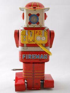 Rare Vintage Space F.D. Robot Fireman Robot Windup Tin Toy 1955 SY Japan + Card | eBay