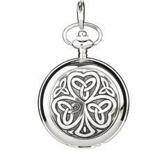 Celtic Shamrock Taschenuhr mit Kette | Eburya