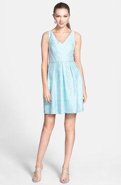 a. drea Beaded Waist Jacquard Fit & Flare Dress (Juniors)   Nordstrom