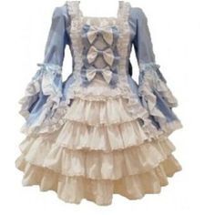 Tailored lolita blue bow vintage Victorian Gothic dress