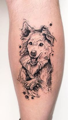 Gray scale Dog Tattoo #DogTattooIdeas