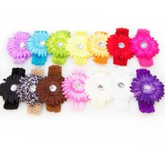 $28.45-$42.95 Baby Brand New Assorted Lot of 13 Large 'Ema Jane' Interchangeable Gerber Flower Clip Headbands. Each flower is 5 inches wide and is intricately layered, dyed and adorned with a crystal center. You will receive 13 assorted colors of soft crochet headbands that you can attach your flowers to (colors will be as shown in photo). Mix and match colors and styles for hundreds of great co ...