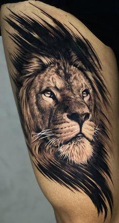 Lion Chest Tattoo, Lion Tattoo Sleeves, Lion Head Tattoos, Bull Tattoos, Mens Lion Tattoo, Leg Tattoos, Sleeve Tattoos, Posseidon Tattoo, Big Cat Tattoo