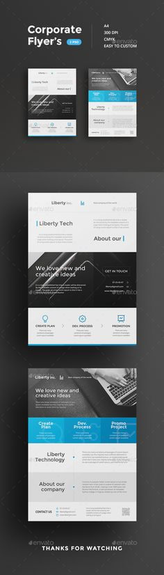 Corporate Flyer Templates PSD #design Download: http://graphicriver.net/item/corporate-flyers/13022776?ref=ksioks