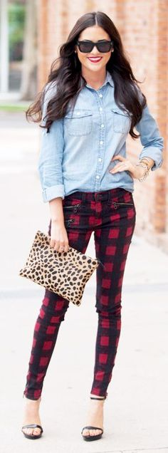 Fall street fashion...Black / Burgundy Check Pants by Pink Peonies