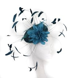 Teal Fascinator Hat for Weddings/Ascot/Derby With Headband
