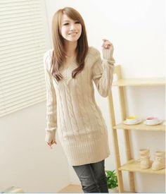 S1296 V-neck  retro twist sweater-ivory