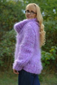 READY mohair sweater fuzzy cowlneck sweater handmade by Dukyana