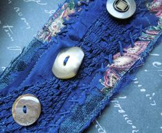 Navy Blue Textile Cuff with Brown Blue and by dwhitecreations, $25.00