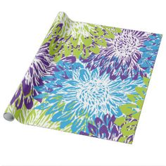 Blue and Lime Green Floral Wrapping Paper