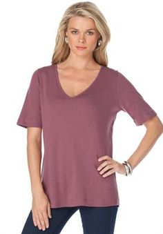 V-neck tee | Plus Size Tops and Tees | Roamans  $7.99  02/01/2015