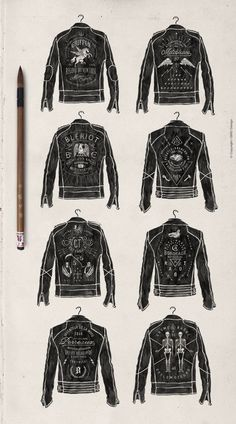 THE MADE SHOP painter leather biker jacket typography lettering hand lettering
