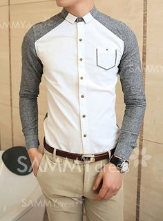 $15.24 Stylish Chic Color Block Button Down Collar Long Sleeves Cotton Shirt For Men
