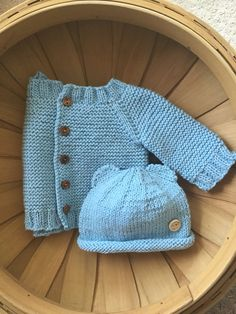 Knitted baby sweater and hat, 100% cotton