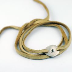 Leather Tie Wrap Bracelet with Chinese Symbol for STRENGTH