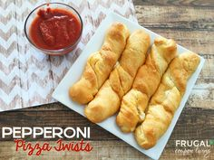 Don't call for delivery, make these! These Homemade Pepperoni Pizza Twists are enjoyable for the entire family. Pair with our homemade pizza sauce on Frugal Coupon Living.