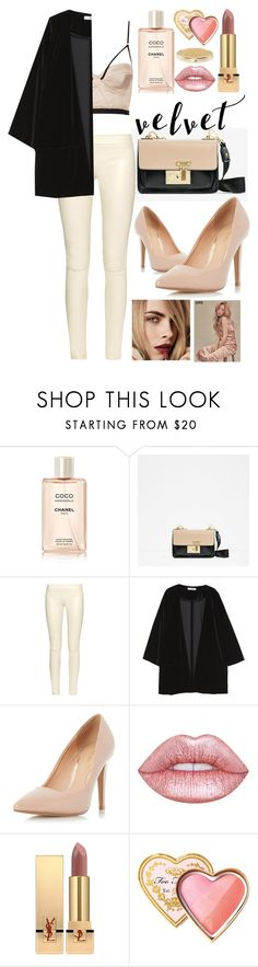 """velvet"" by mahaelaly ❤ liked on Polyvore featuring Chanel, The Row, Burberry, MANGO, Dorothy Perkins, Lime Crime, Yves Saint Laurent, Too Faced Cosmetics and Chico's"