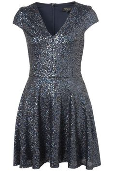 Topshop Blue Sequin Glitter Dress - SIZE 16 Going Out Dresses 006d42e7c