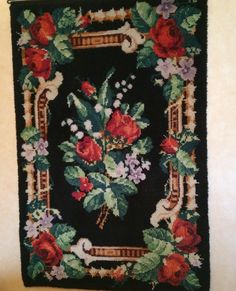 Ruusut ja kielot -ryijy Roses and lilies of the valley Lily Of The Valley, Finland, Embroidery, Rugs, Crafts, Lilies, Painting, Design, Farmhouse Rugs