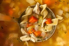 This easy chicken noodle soup recipe uses rich homemade chicken stock made from leftover roasted chicken, egg noodles, and fresh vegetables.