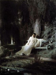 Moonlit Night (1880) - Ivan Kramskoy. Amazingly realistic. Just look at the detail in the dress, tree trunk, flowering shrub, light and shadow.