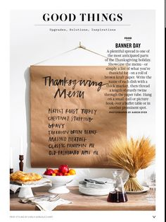 A plentiful spread is one of the most anticipated parts of the Thanksgiving holiday. Showcase the menu — or simply a list of what you& thankful for — on a roll of brown kraft paper. Hosting Thanksgiving, Thanksgiving Parties, Thanksgiving Crafts, Thanksgiving Decorations, Holiday Parties, Holiday Fun, Holiday Ideas, Thanksgiving Tablescapes, Fall Decorations