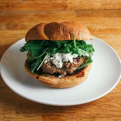 Sweet and Savory Burger with Fig Jam, Goat Cheese, and Arugula recipe on Food52