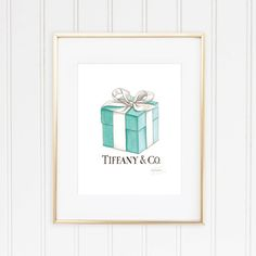 Tiffany Co. Box and Ribbon, Breakfast at Tiffany's Watercolor Fashion... ❤ liked on Polyvore featuring home, home decor and blue home decor