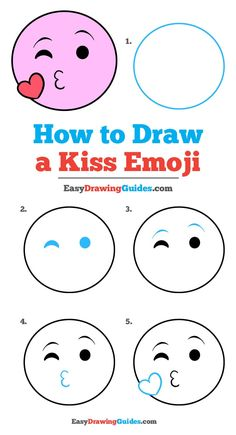 Drawing For Beginners - Learn to draw a kiss emoji. This step-by-step tutorial makes it easy. Kids and beginners alike can now draw a great looking emoji. Easy Drawing Tutorial, Easy Drawing Steps, Step By Step Drawing, Emoji Drawings, Kawaii Drawings, Doodle Drawings, Easy Drawings For Kids, Drawing For Kids, Drawing Drawing