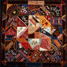 Crazy quilt by Lizzie M. Bradley.  United States, 1883-4.  Silk Velvet, satin weave, plain weave; pieced, quilted, and embroidered