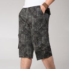 f744df5451 Thin Summer Short Man Multi-Pockets 4Xl 5Xl 6Xl Plus Size Casual Short-Pants  Army Loose Elastic Waist Cargo Short Man A3374