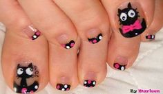 Nail art is rapidly taking everybody in command. People are trying and exploring out new and latest fashion in nail art designs. There is abundance of nail art Pretty Toe Nails, Cute Toe Nails, Sassy Nails, Cat Nail Designs, Simple Nail Art Designs, Pedicure Designs, Cat Nail Art, Cat Nails, Galeries D'art D'ongles