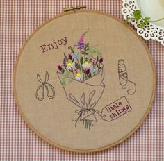 Hand embroidery hoop art, embroidery hoop, DIY Gift, embroidery pattern, flowers embroidery, wildflower bouquet by NaNeeHandEmbroidery on Etsy https://www.etsy.com/listing/267594180/hand-embroidery-hoop-art-embroidery-hoop